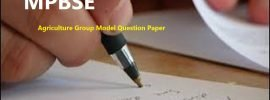 Agriculture Group Model Question Paper 2020 for MPBSE 12th Class