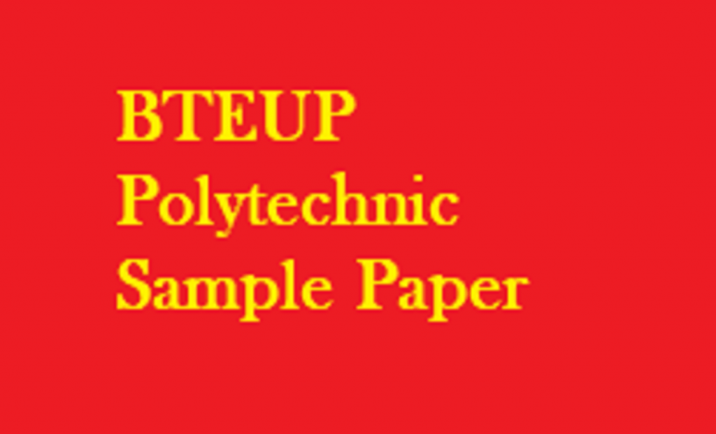 BTEUP Polytechnic Sample Paper UP JEECUP Physics, Chemistry, Maths